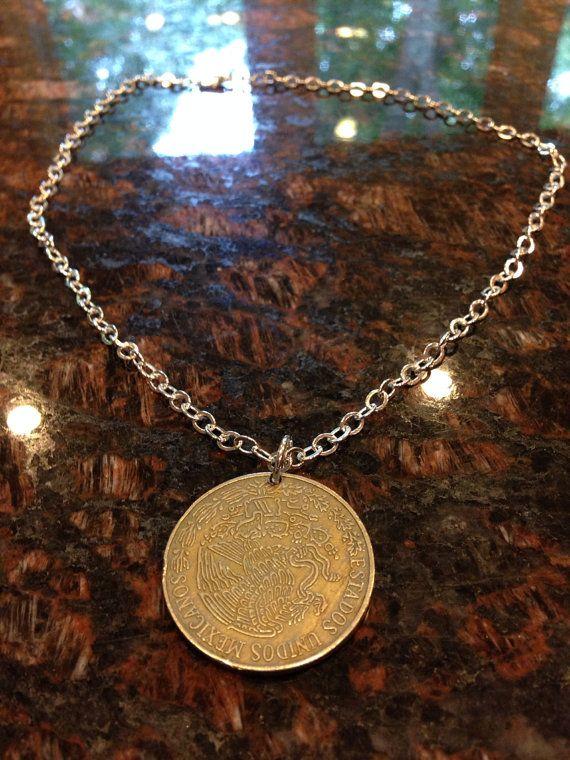 Mexico Cinco Pesos coin necklace