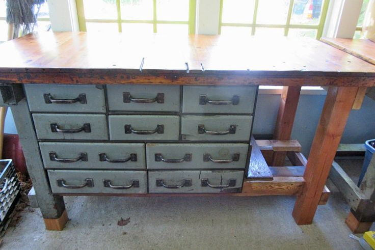 1900s Workbench Industrial Work Bench by StateAndMainVintage