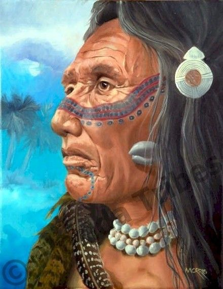 TIMUCUA WAR LEADER (Timucua Tribe of Florida). This leader gazes out at his world. As a clan leader, his courage and experience were critical for the survival of the tribe...Florida Lost Tribes Art Project by Theodore Morris