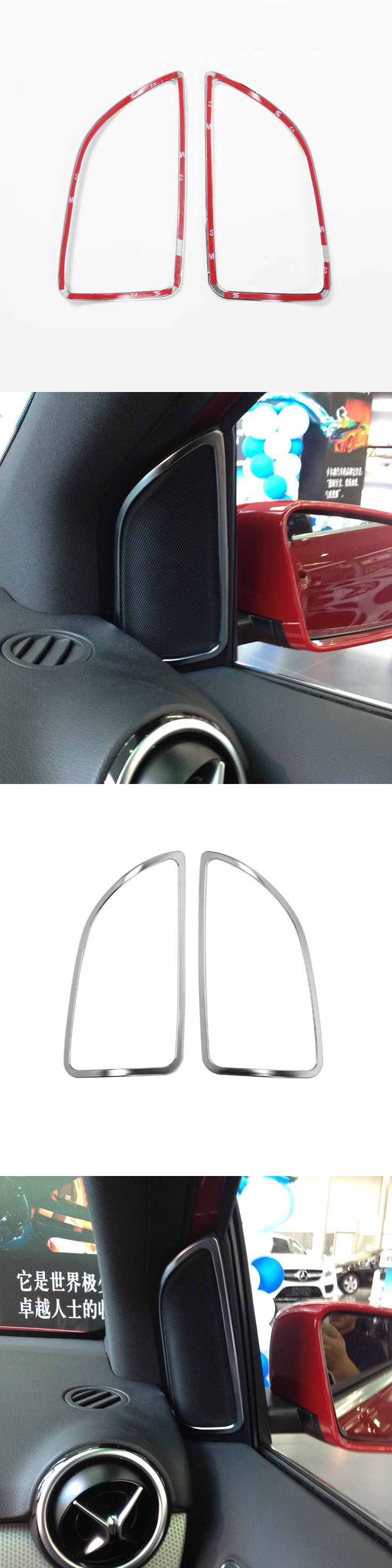 Car Accessories Chrome Door Speaker Frame Decoration Trim Sticker For Mercedes Benz B Class B200 B260 2012-2016 Car Styling