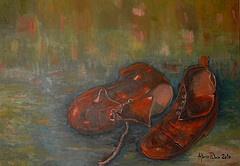 Due vecchie scarpe. Opera dipinta dal vero  Olio su tela.Dim. cm 50 x cm. 70