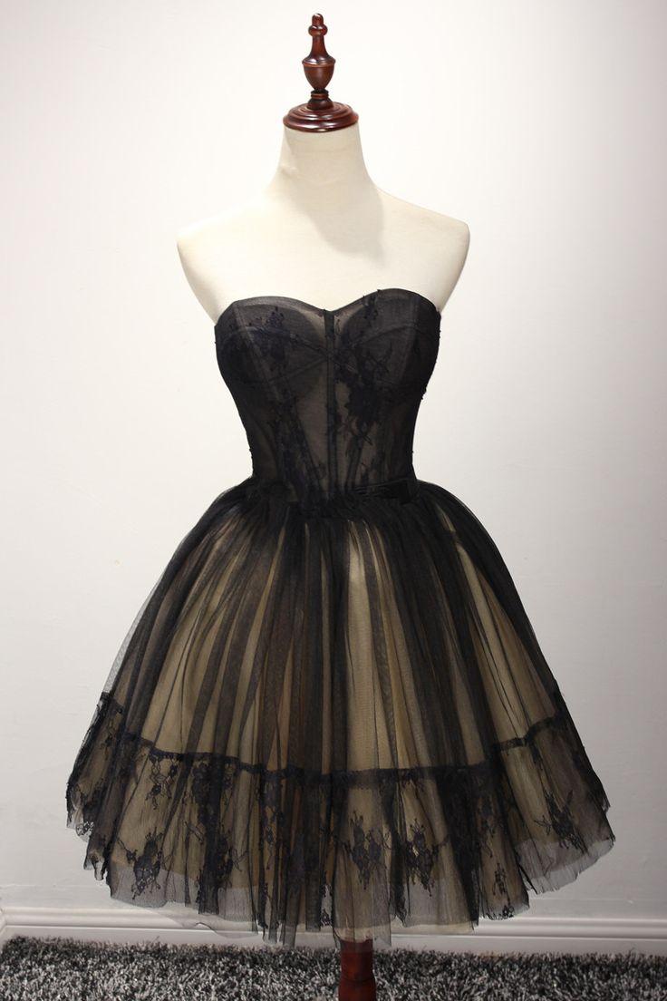 Black dress under graduation gown - Cute Tulle Short Black Ball Gown Sw