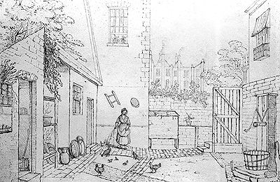 Servants' quarters - The Regency Town House, Brighton & Hove. Sheds in the courtyard were used to house chickens, and provide shelter for the servants' privy - a non-flushing toilet whose contents were collected regularly by the 'night soil men' to be sold as manure. Unlike the upstairs residents, servants did not benefit from the newly invented water closet! Also in the courtyard was a water butt and, frequently, a fish larder.