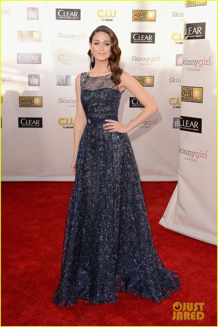 Critics' Choice Awards 2013    Emmy Rossum - Carolina Herrera dress and Christian Louboutin shoes.