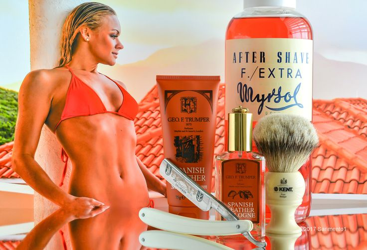 "Trumper's Spanish Leather shave cream, Kent badger brush, Schulze 6/8"" ""Sunday"" straight razor, Myrsol F aftershave, Trumper's Spanish Leather cologne, April 30, 2017.  ©Sarimento1"