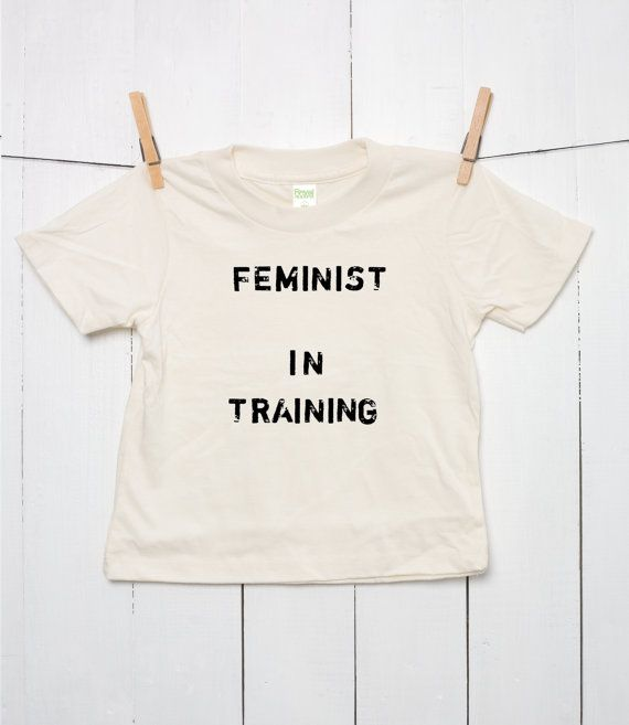 Organic Cotton Feminist in Training Children's T Shirt 100% Certified Toddler Youth Girls Boys Kids Sustainable Clothing Grunge in Natural