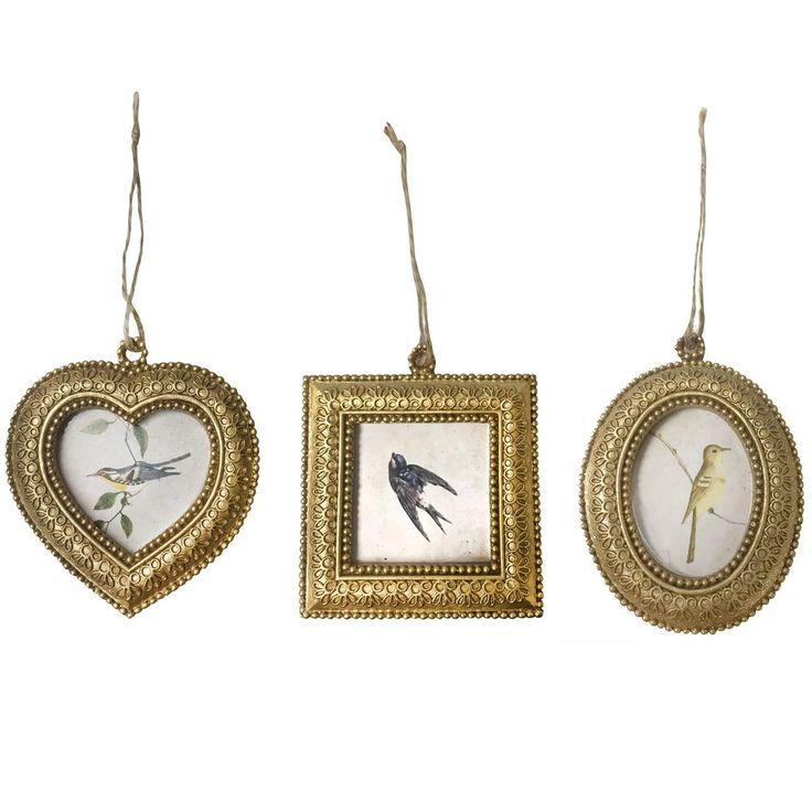 Set Of 3 Rococo Shabby Chic Photo Frames, Gold Accessory - PASX UK