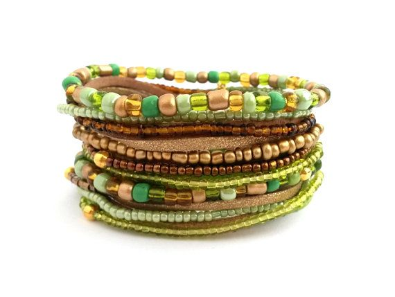 Green Gold Brown Bracelet Wrap Bracelet Seed by AccessoriesByLO