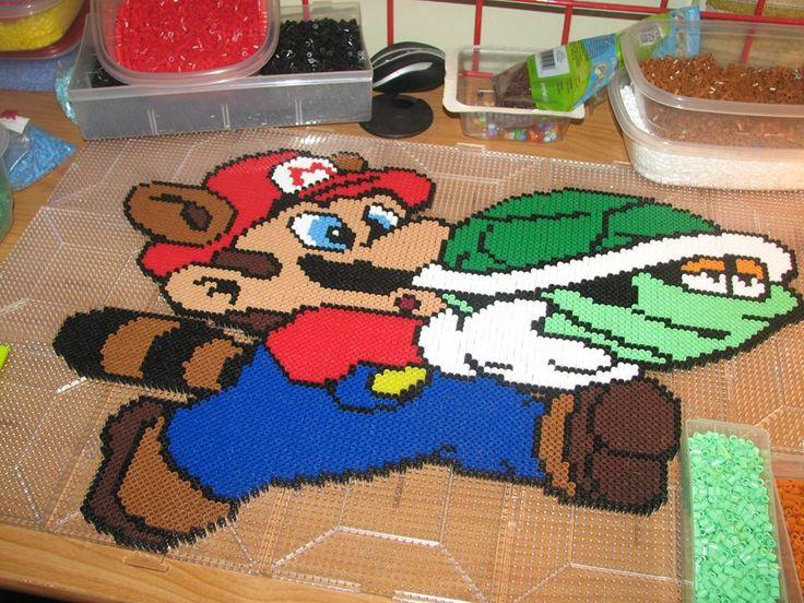 Mario racoon perler beads by ndbigdi on DeviantArt