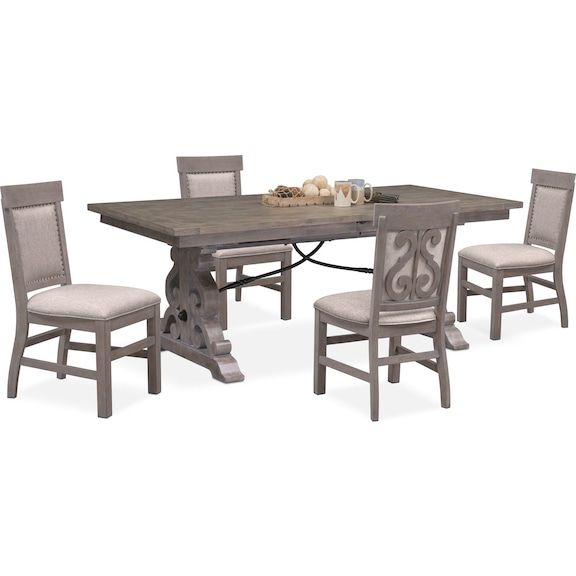 Charthouse Rectangular Dining Table And 4 Upholstered Side Chairs