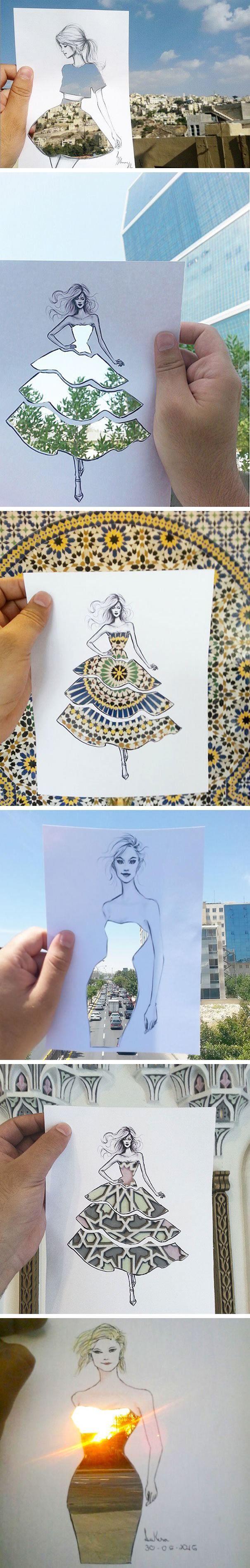 This Fashion Illustrator Completes His Cut-Out Dresses With Clouds And Buildings