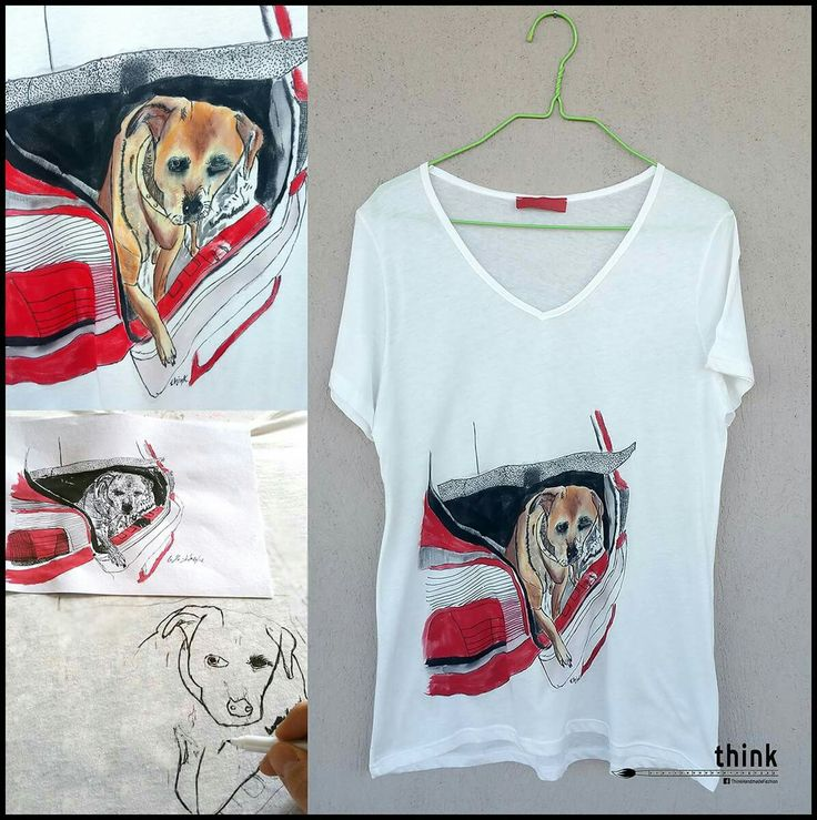 Handpainted dog illustration t-shirt