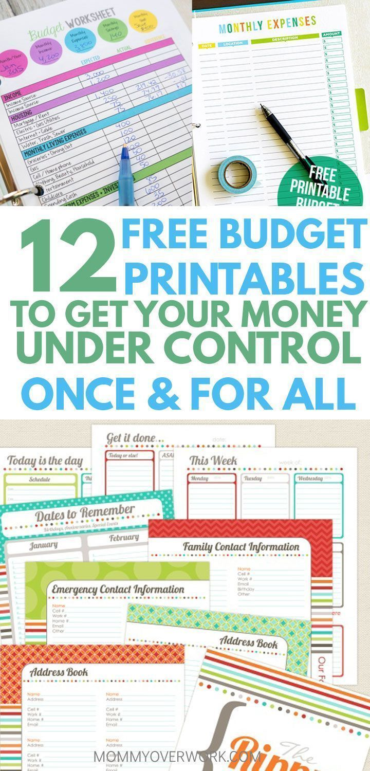 12 free printable budget worksheets to get control of your money