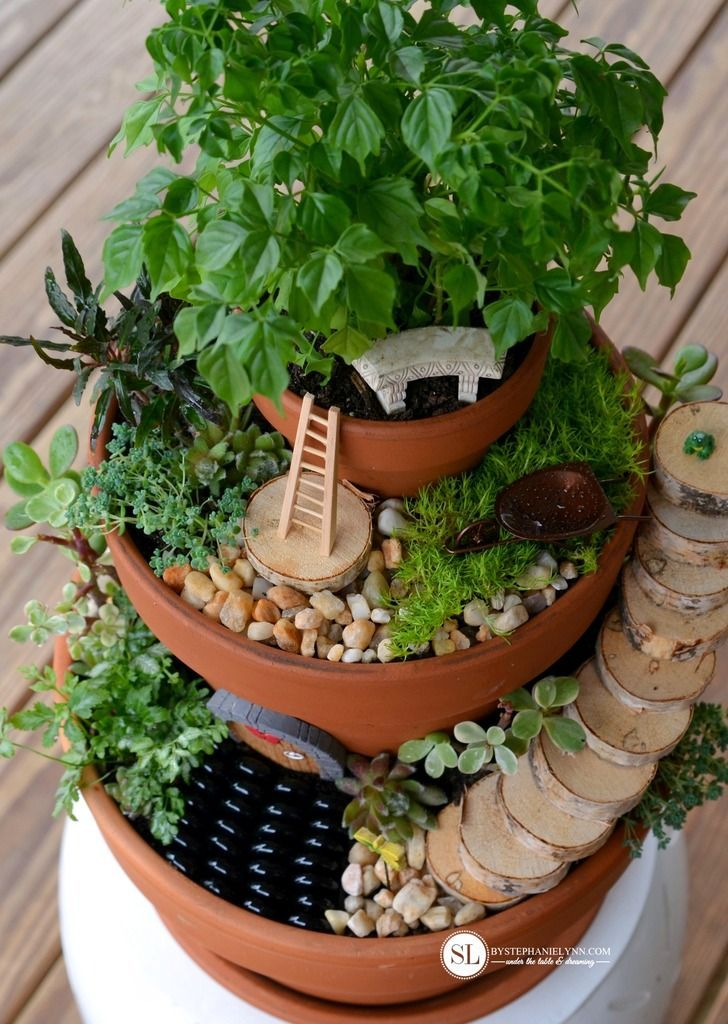 Tiered Flower pot Fairy Garden DIY #michaelsmakers