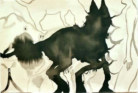 Tanja Smit untitled (horse&hat) . 2005 ink on paper 38 x 52 cm VIA