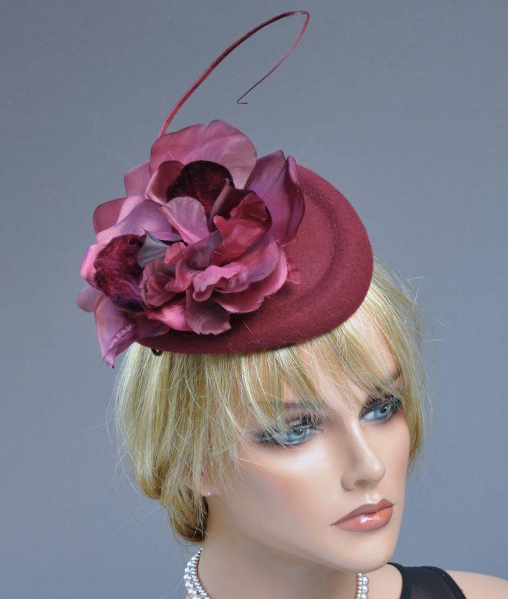 Fascinator, Winter Fascinator, Burgundy Wine Hat, Ladies Winter Fascinator Hat, Formal Hat, Wedding Hat, Percher Headpiece,