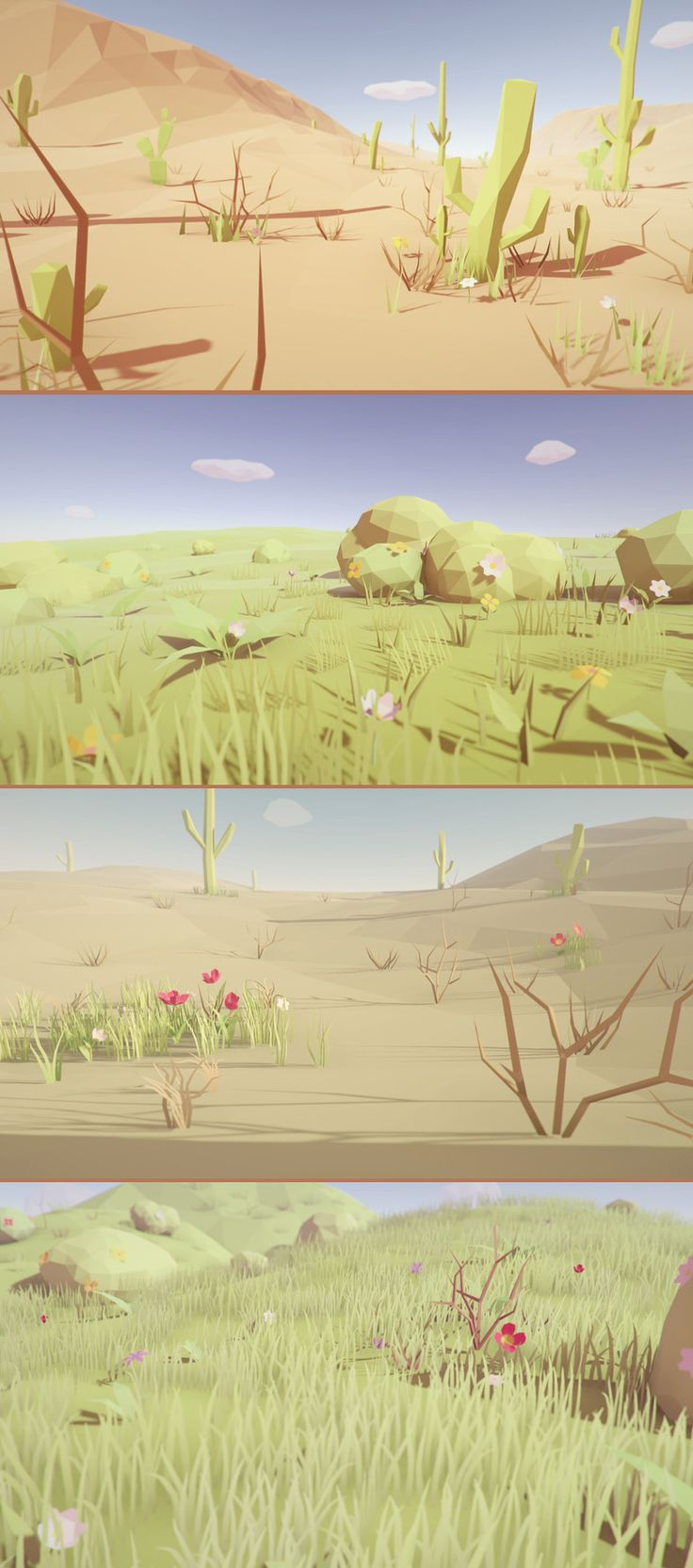 Low Poly Vegetation Pack This package contains a huge variety of different plants, grass, bushes, and other plants ready to use for your game levels. Just drag and drop prefabs to your scene and achieve beautiful results in no time. PC & mobile friendly assets.