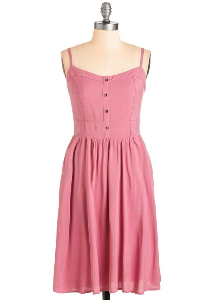 Breezy Listening Dress. Turn up the tunes and relax in this rose-pink sundress for an afternoon to remember! #pink #modcloth