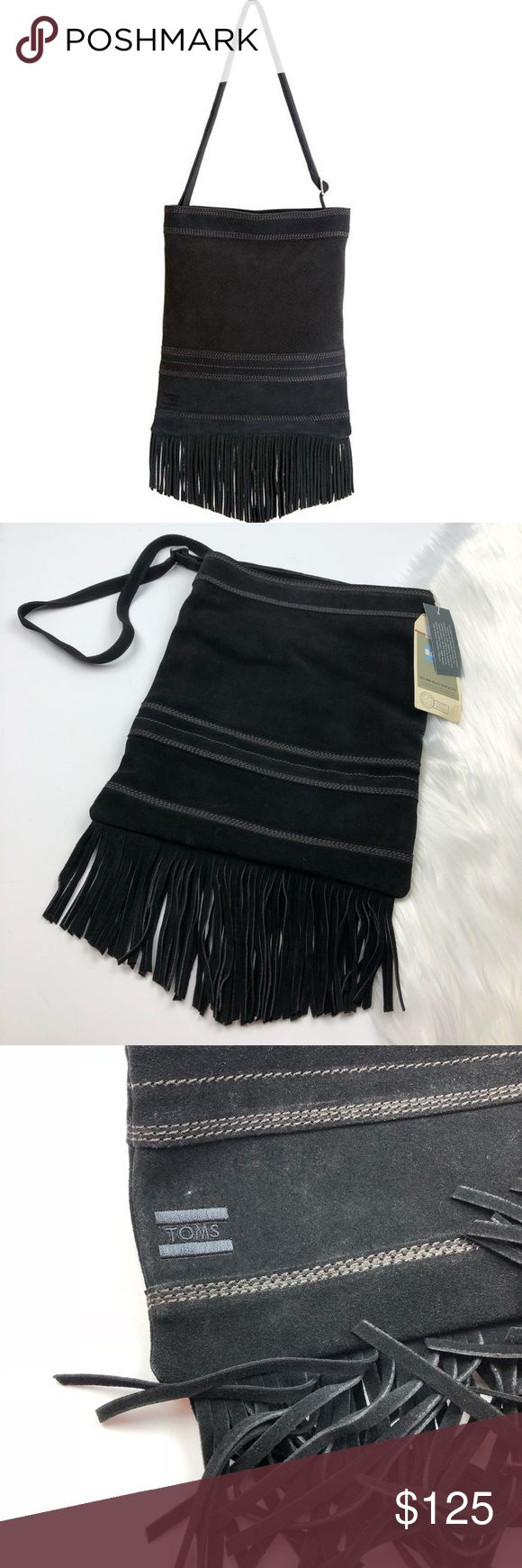 NWT Toms Suede Fringe Crossbody Bag So cute and perfectly on trend! Brand new with tags. Black suede with fringe bottom. Genuine leather. Printed interior. No trades!! 0102017450gwpg Toms Bags Crossbody Bags