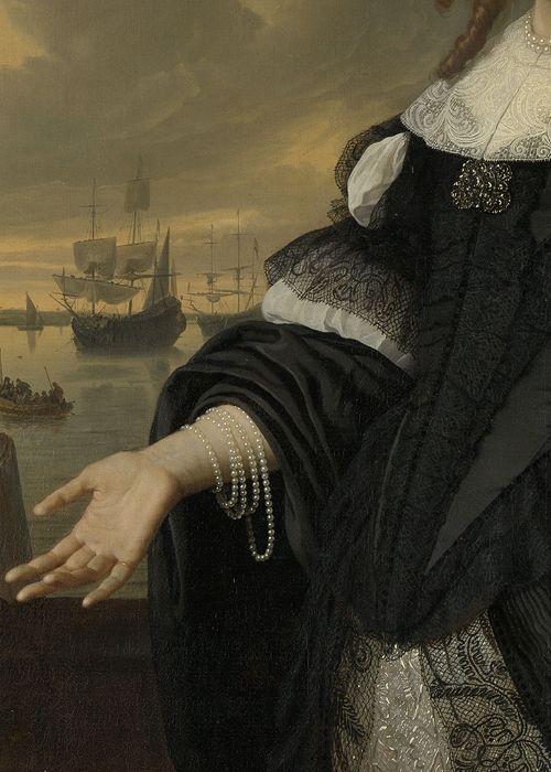 "Portrait of Geertruida den Dubbelde (detail), Bartholomeus van der Helst & Ludolf Bakhuysen, 1668 "":"