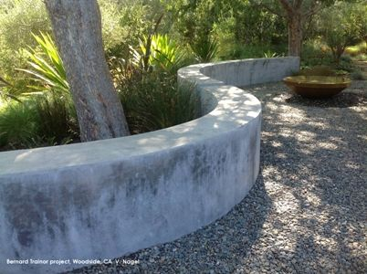 Curved concrete wall seating details pinterest for Curved garden wall designs