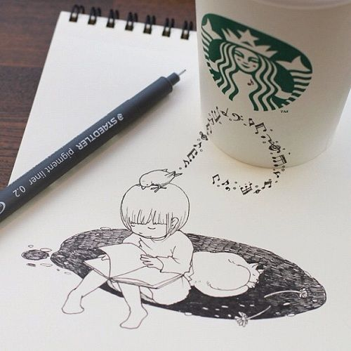 Whimsical Starbucks Coffee Cup Doodles - DesignTAXI.com