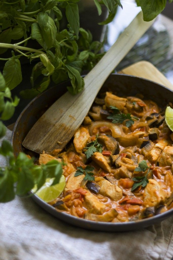 Chicken Curry with Eggplant and Tomatoes