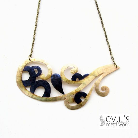 Brass Black Copper Tribal Paisley Necklace Hand by evismetalwork, €35.00