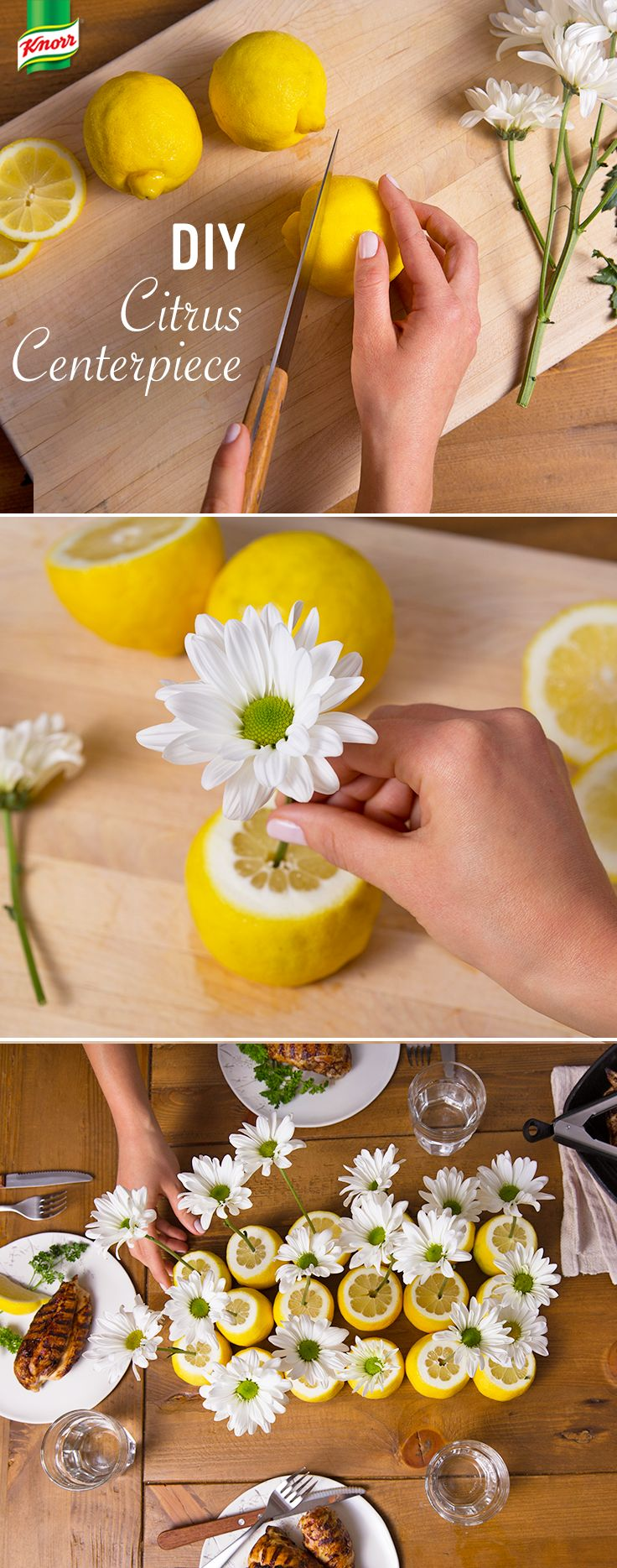Want a show-stopping yet simple party table decorating idea? Knorr knows the best summer season centerpiece. Place your favorite flower into an orange, lemon, or lime. Create a fragrant bouquet with an assortment of floral items and different citrus fruit. What an easy DIY!