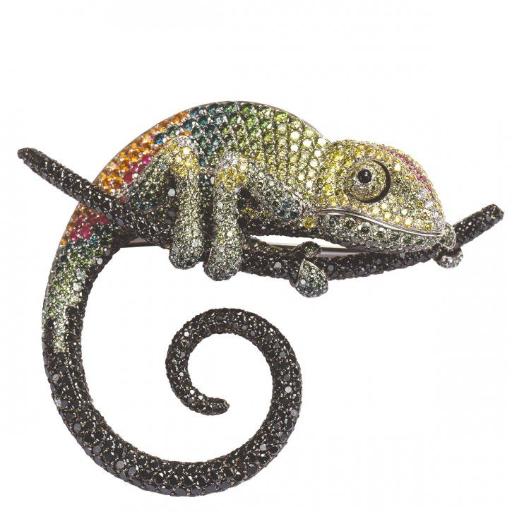 Chameleon brooch in 18-karat gold with colored stones by Palmiero, Valenza, Italy