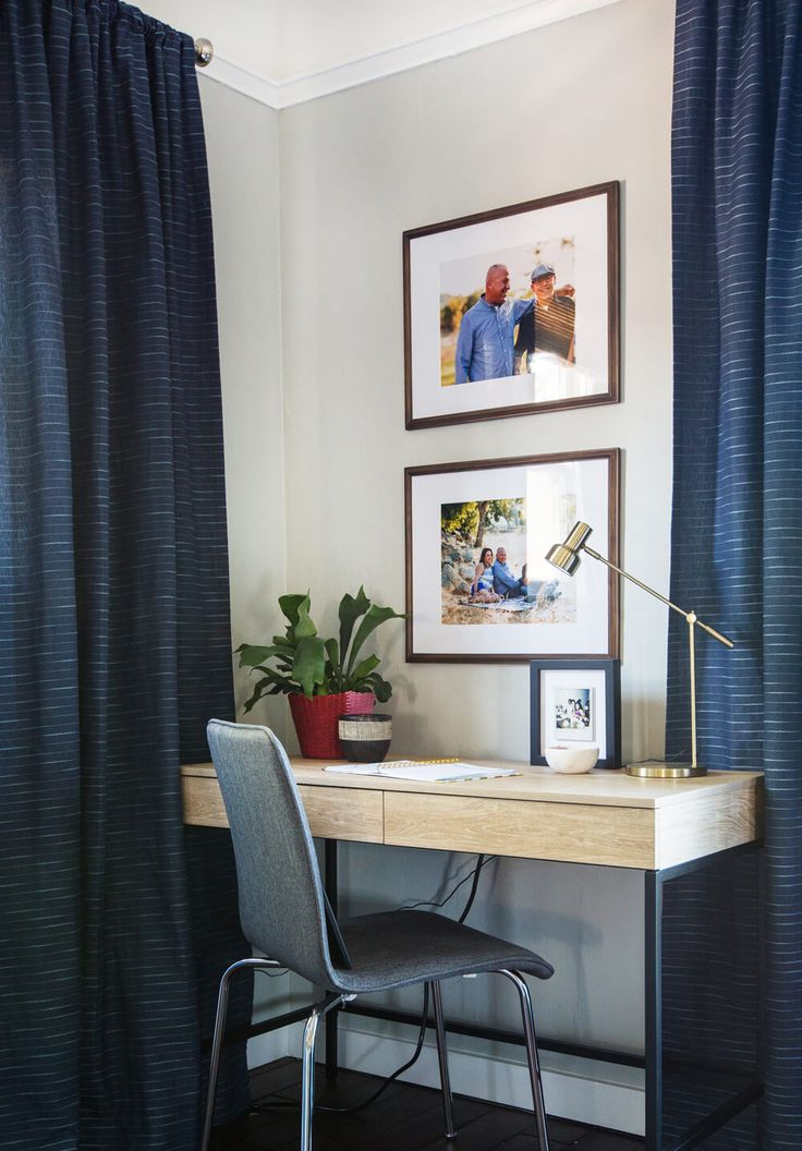 Small Office Setup Tucked Into The Corner Of A Living Room Great Idea For