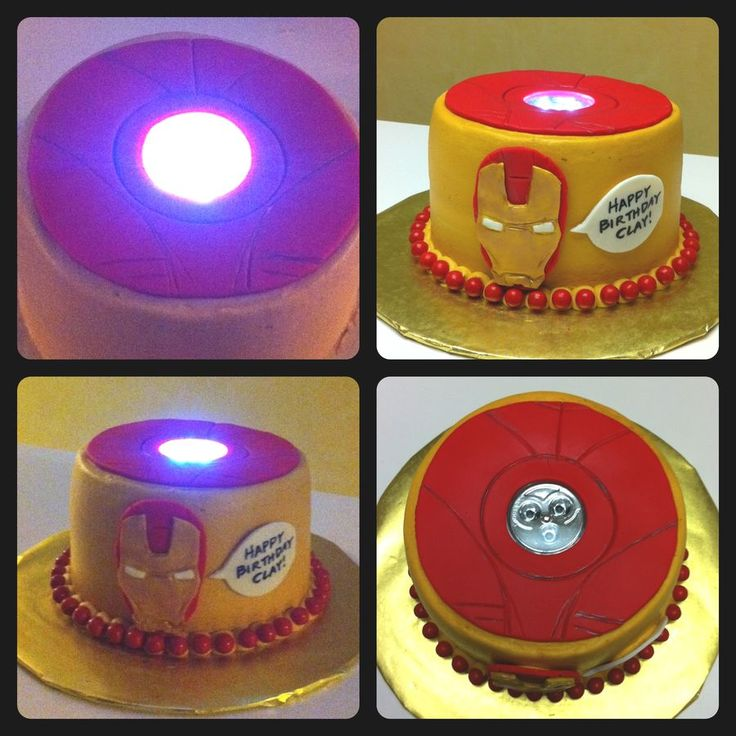 "Iron Man cake with ""working"" arc reactor."