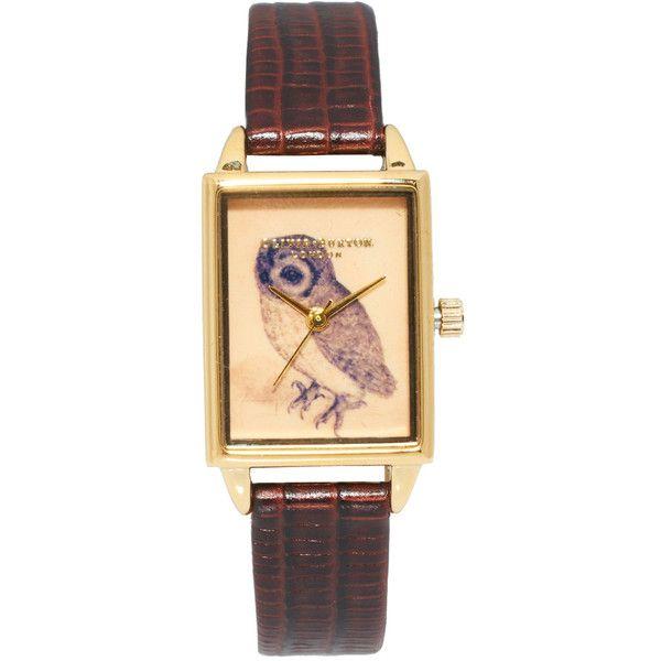 Часы на кожаном ремешке с прямоугольным циферблатом с совой Olivia... (€81) ❤ liked on Polyvore