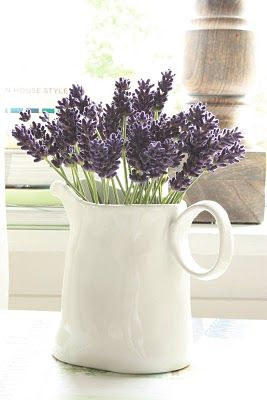 Lavender is one my favourite flowers. And in a crisp white jug... so lovely!
