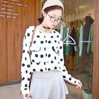 I'Miusa - Flap-Pocket Dotted Blouse