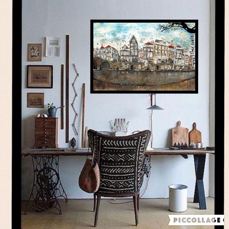 Painting 'Hollandse Grachtenpandjes' by artnoel.nl info@artnoel.nl Noel Hariri #paintingmixedmedia#giclee#kunst#art#holland#nederland#iloveholland#groningen#love#art#Artnoel#noelhariri#dutch#vtwonen#fun