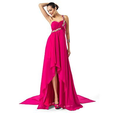 Sheath/Column One Shoulder Asymmetrical Chiffon Evening Dress – USD $ 98.99 they sell it in white too