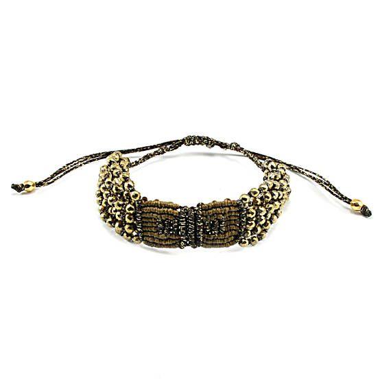 Crochet bracelet with hematite, Macrame bracelet