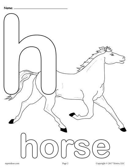 FREE Printable Lowercase Letter h Coloring Page! Letter H worksheets like this are perfect for toddlers, preschoolers, and kindergartners and are great for letter recognition, fine motor skills, and more. Includes 3 letter H coloring pages. Get the entire set of letter H printables here --> https://www.mpmschoolsupplies.com/ideas/7474/letter-h-alphabet-coloring-pages-3-free-printable-versions/