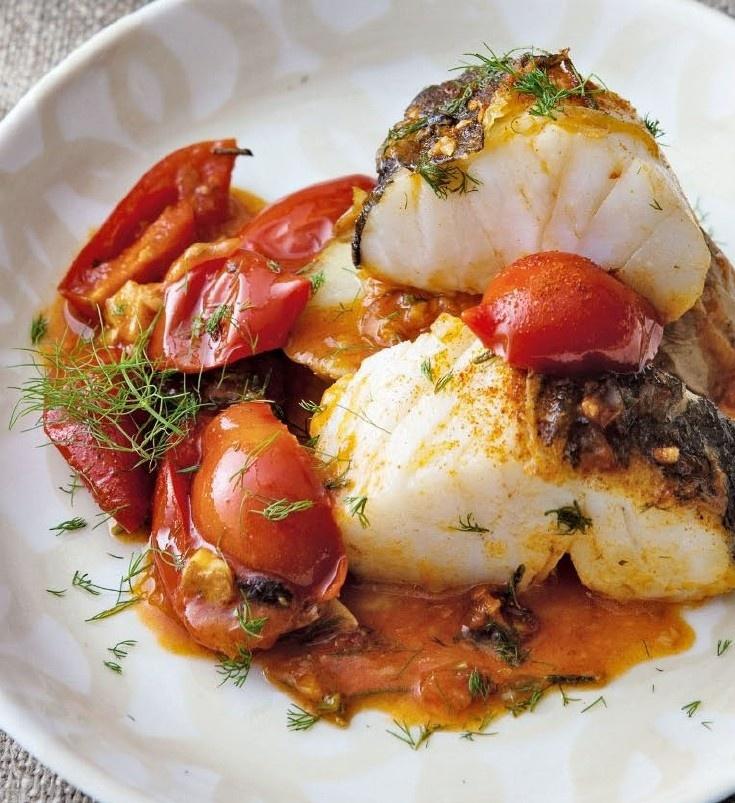 baccalà con pomodori appesi/cod with tomatoes