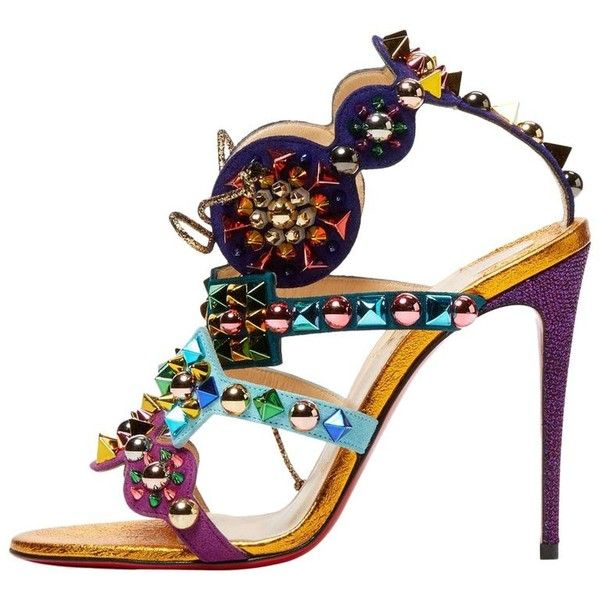 Preowned Christian Louboutin New Multi Color Gold Tribal High Heels... ($2,125) ❤ liked on Polyvore featuring shoes, sandals, gold, heels, multi color high heel sandals, gold sandals, colorful shoes, multi color sandals and multi coloured shoes