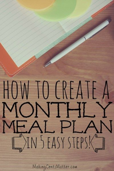 Does creating a monthly meal plan seem daunting?  With these 5 simple steps, you can easily create a monthly meal plan that works for your family!