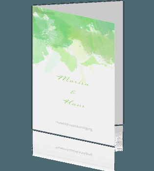 Aquarel trouw uitnodiging met groene verf. #aquarel #trouwkaarten