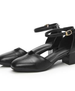 Large size 34-42 summer buckle solid women PU soft leather pumps med heels 4.5cm fashion party shoes