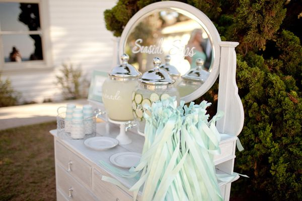 Pretty mint & white dresser with lemonade dispenser, card box, ribbons, mirror and picture frames