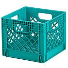 Aqua Milk Crate - Reconfigure the shelves in the closet to fit 2-3 rows of these fun milk crates at the bottom.  They are easy for kids to pull out and nice and sturdy.