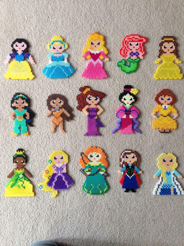 Princess set perler beads by Amy Castro - Snow White, Cinderella, Aurora, Ariel, Belle, Jasmine, Pocahontas, Meg, Mulan, Jane, Tianna, Rapunzel, Merrida, Anna and Elsa