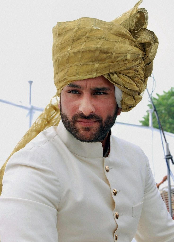 Saif Ali Khan in check tissue stuff avocado shaded groom Pagri.