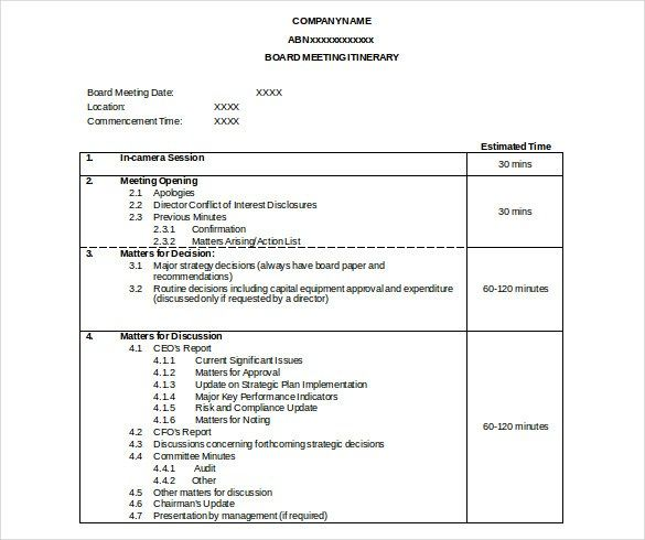 Itinerary Meeting Templates Agenda Template Meeting Agenda
