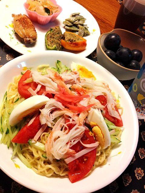 夏にピッタリ!セニョリータはピーマンの一種で、豚肉とニンニク、イタリアパセリ、セージ、バジル入り - 5件のもぐもぐ - 冷やし中華、セニョリータの肉詰め、インゲンのからしマヨネーズ和え、浅漬け、鳥手羽の塩麹焼き、プルーン by h7929sy